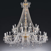 Large and ornate Empire-style chandelier in lead crystal with 36 lights
