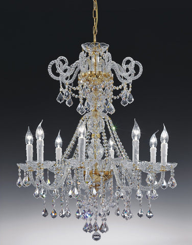 Ornate Italian lead crystal chandelier with 8 lights and colour option