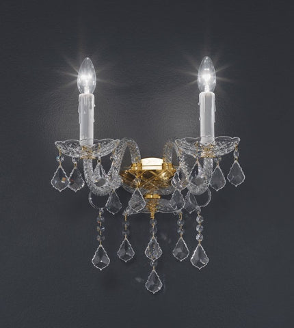 Ornate silvery lead crystal wall chandelier with 2 lights