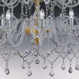 Magnificent lead crystal ballroom chandelier from Italy with two tiers and 30 lights
