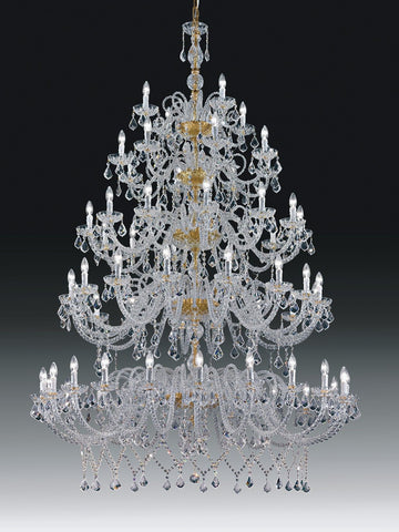 Hugely impressive 24% lead crystal chandelier from Italy with 60 lights