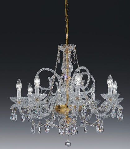 Elegant 8 light lead crystal and gold Italian chandelier
