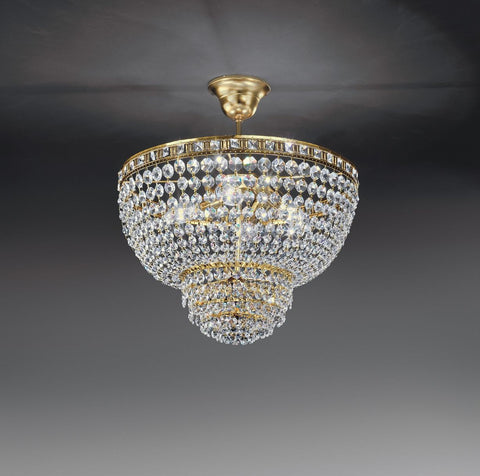 "Classic gold or chrome ""basket"" ceiling light with Asfour crystals"