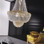 Empire-style chandelier on a gold or chrome frame with Asfour crystals