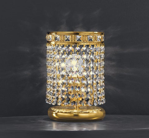 Classic 24% lead crystal table lamp with chrome or gold frame