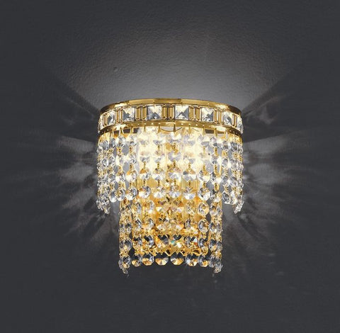 Classic gold or chrome wall light with Asfour crystals
