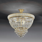 Descending gold or chrome basket chandelier from Italy with 24% lead crystals