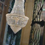 Breathtaking large Empire-style lead crystal chandelier with gold or chrome frame