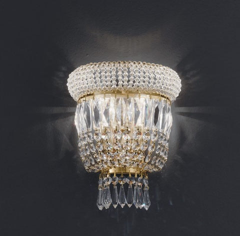 Gold or chrome wall light with sparkling 24% lead crystals by Asfour