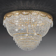 Elegant lead crystal and gold basket chandelier from Italy with gold or chrome frame