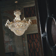 Gold-plated or chrome empire chandelier with sparkling Asfour crystals