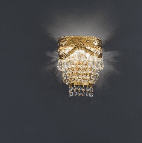 Traditional gold or chrome Italian wall light with24% lead crystal droplets by Asfour