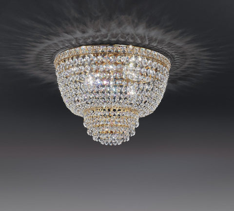 Luxury Italian crystal basket ceiling chandelier with a gold or chrome frame
