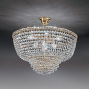 Timeless and elegant 24% lead crystal basket chandelier with gold or chrome frame