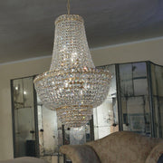 Gold or chrome Empire style chandelier with  lead crystal gems by Asfour and 7 lights