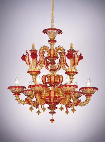 Rezzonico-style red & gold glass Murano chandelier