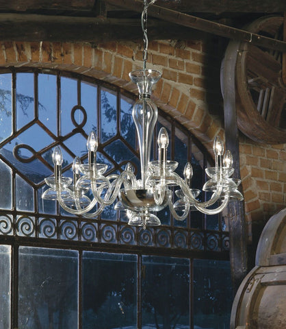 Understated modern Italian chandelier with eight lights in 7 great colours