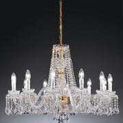 Ornate 12 Light lead crystal chandelier with   a 24 carat gold or chrome frame