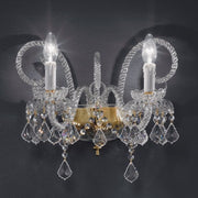 Exquisite double gold or chrome wall sconce with 24% lead crystal pendants by Asfour