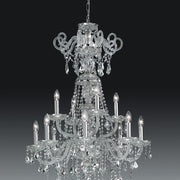 Beautiful modern silver or gold Asfour lead crystal chandelier with 12 lights