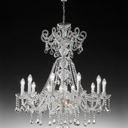 Ornate silvery crystal chandelier from Italy with ten lights and colour option