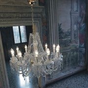 Enchanting twelve-light gold or chrome chandelier with Asfour crystal decorations