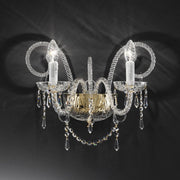 Classic  gold-plated  or chrome wall light with 24% lead crystal decoration by Asfour