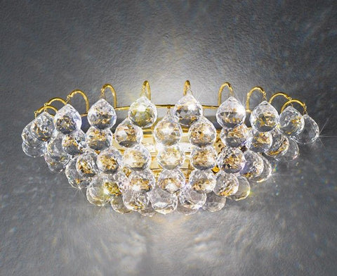 Austrian crystal bauble wall light with gold frame