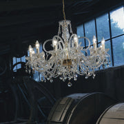 Exquisite12 light Italian lead crystal  chandelier with 24 carat gold or chrome frame