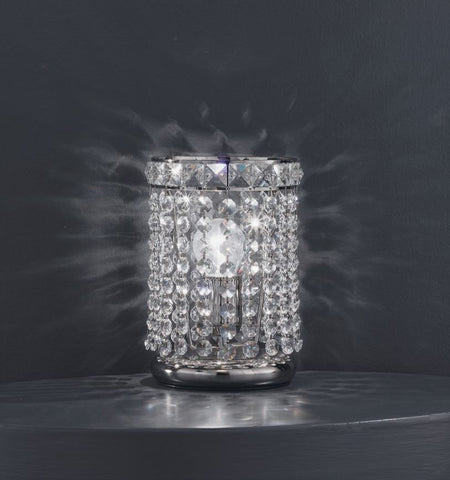 charming Asfour lead crystal table lamp with gold or chrome base