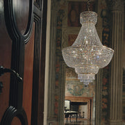 Spectacular gold or chrome Italian empire-style chandelier with glittering Asfour crystals