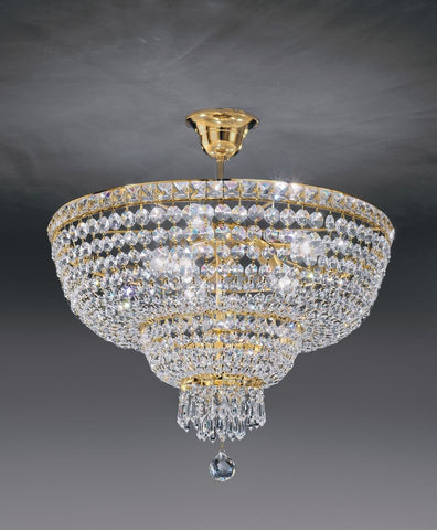 Sparkling 24% lead crystal suspended light from Italy with eight lights