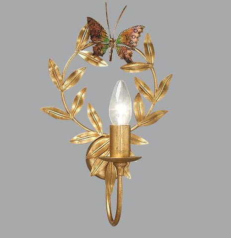 Gold Metal Wall Light with Leaf & Butterfly Detailing