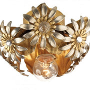 Gold Metal Ceiling Light with Silver Flowers