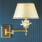 Italian wall lamp with white Capo di Monte rose