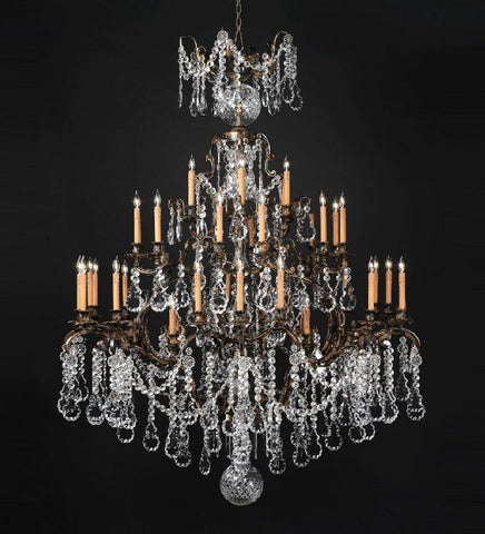 42 light 3 tier chandelier with Bohemian crystal pendants