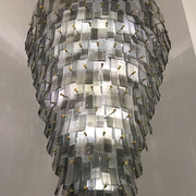Tall grey Italian glass stairwell chandelier