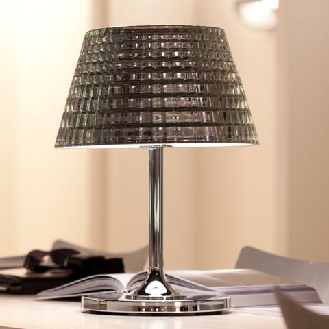 Large Flow D87 B03 chrome metallic lead crystal table lamp from