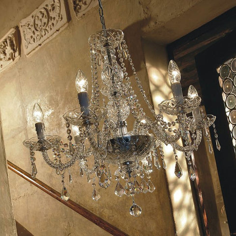 6 arm Italian lead crystal nickel-plated chandelier