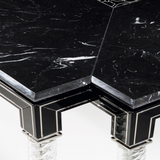 Black wood, marble & glass dining table in the art deco style
