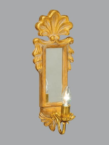 Gold Antique Finished Metal & Glass Wall Light