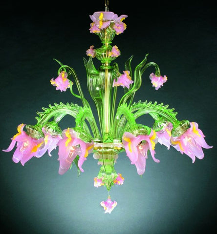 Pink and green Murano glass flower chandelier
