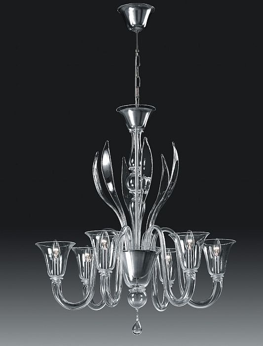 Clear Murano glass 6 light Alessandro Lenarda chandelier