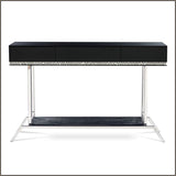 Narrow modern Venetian mirrored table with marble top