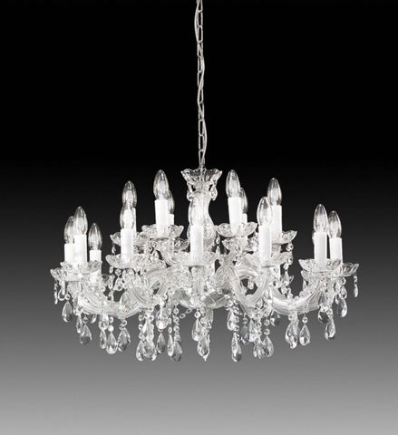 18 Light Glass and Acrylic Crystal Chandelier