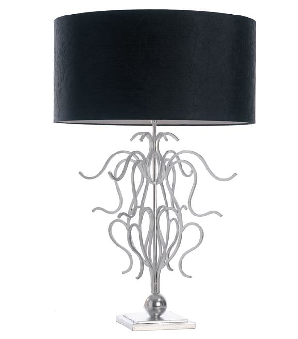 Large modern iron table lamp with black shade