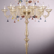 Murano crystal 24 light floor chandelier with coloured flowers