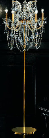 Ornate five light Italian floor chandelier with Asfour crystals