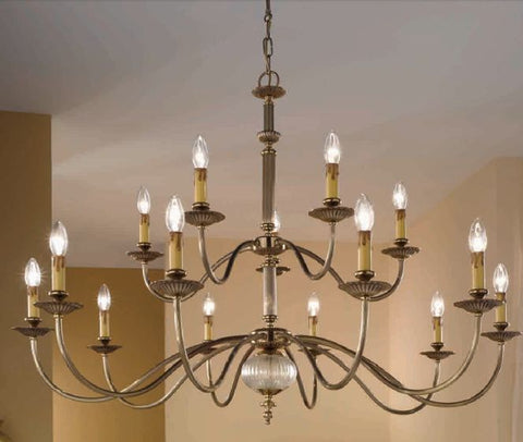 Antique brass & Murano glass 15 light chandelier