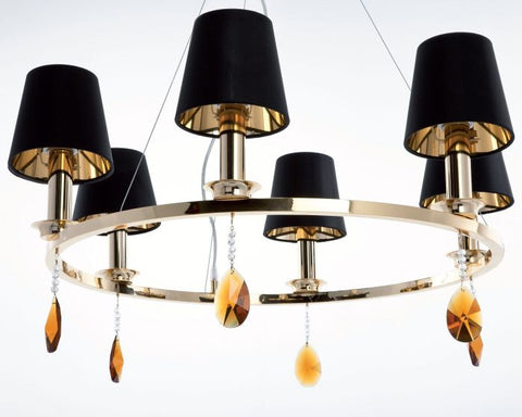 Round chrome or gold chandelier with Swarovski pendants